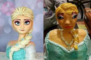 Menina recebe versão 'deformada' de bolo inspirado em Elsa