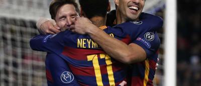 Neymar, Messi e Suárez dão mais um espetáculo e Barça faz 6 na Roma