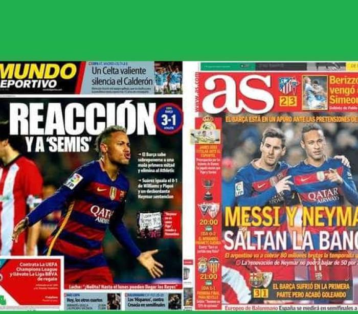 Barcelona nas meias-finais da Taça do Rei, Atlético eliminado