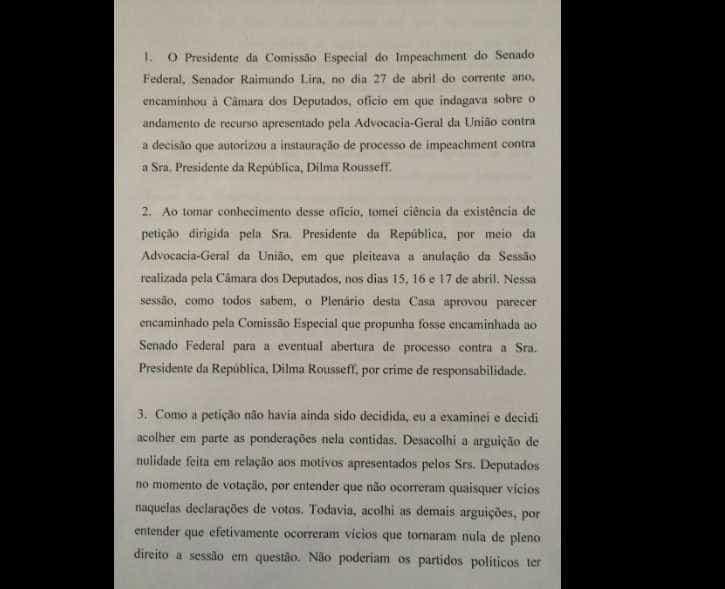 Substituto de Cunha anula pedido de  impeachment de Dilma, diz jornal