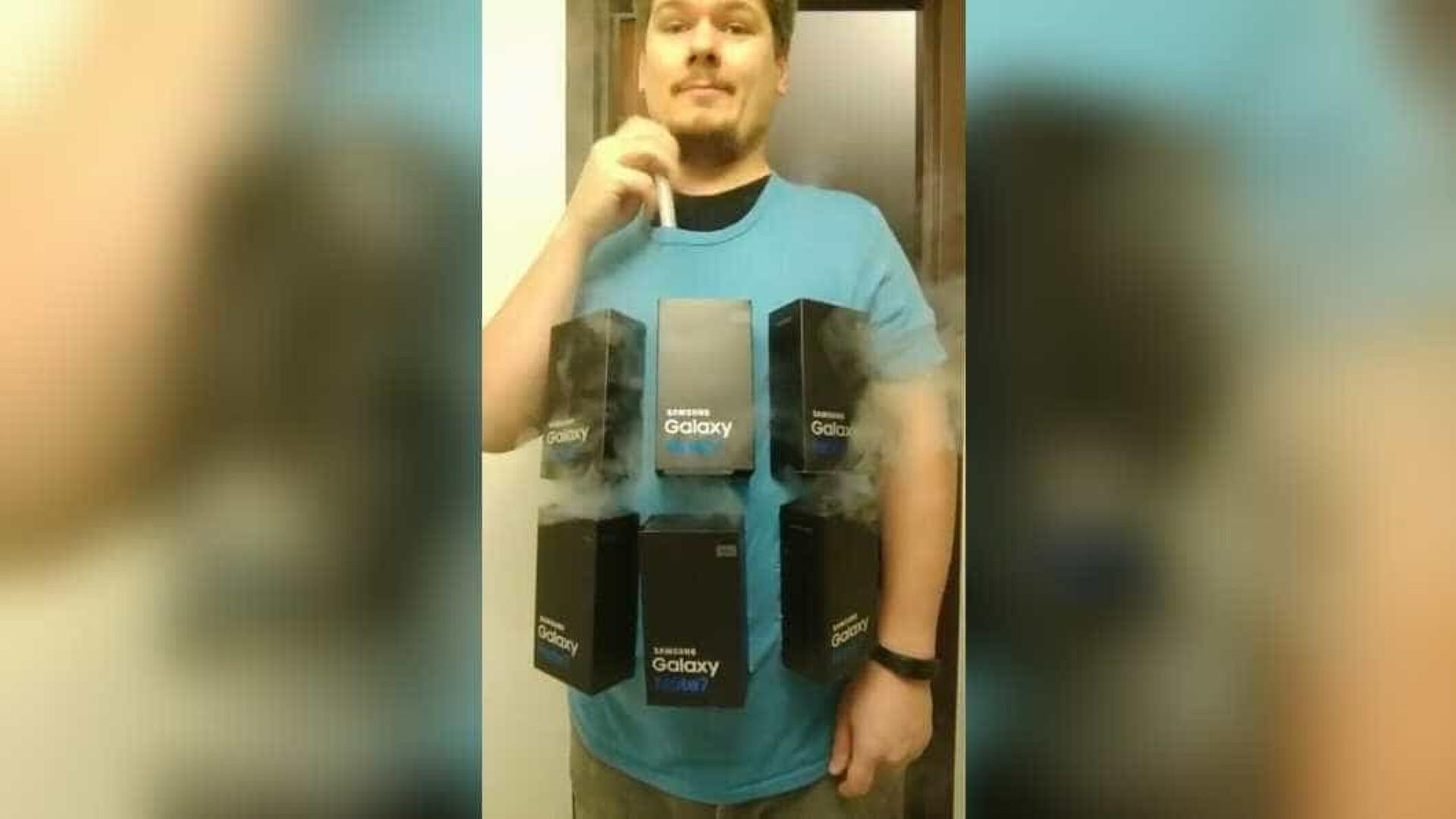 Homem faz fantasia 'explosiva' de Haloween com Galaxy Note 7