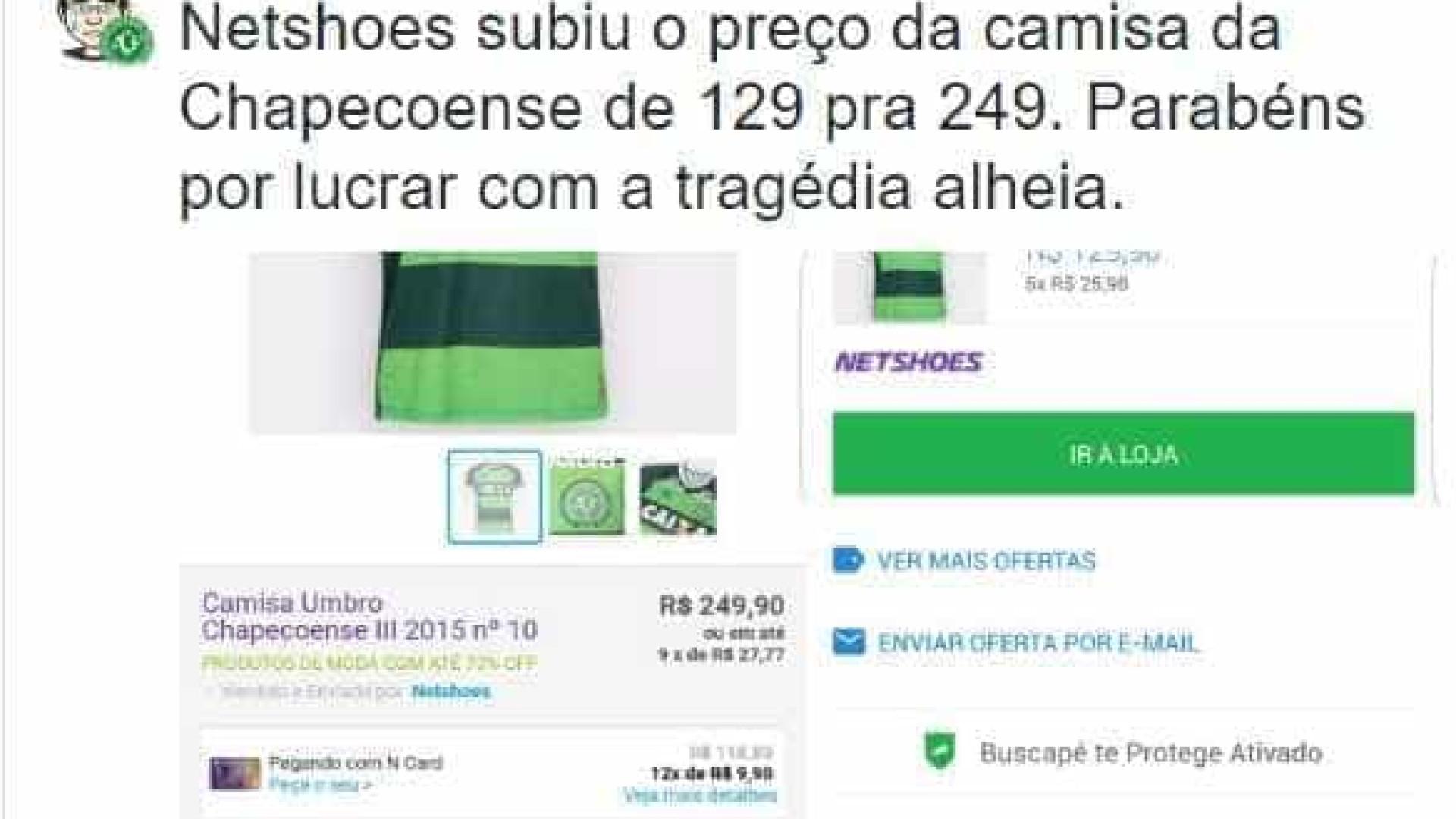 """Netshoes """"aumenta"""" preço de camisa da Chape e revolta internautas"""