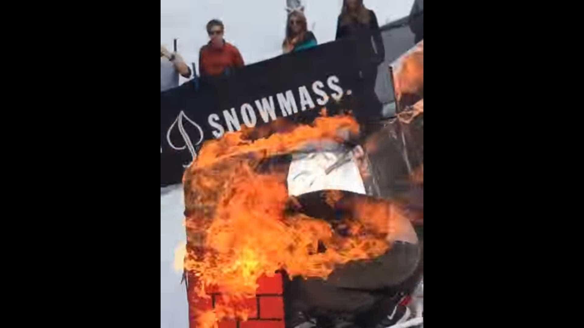 Brincadeira em estação de esqui nos Estados Unidos acaba mal; assista