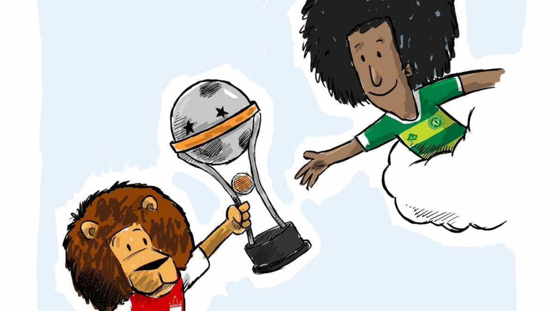 Campeão da Sul-Americana 2015 'entrega' taça à Chapecoense