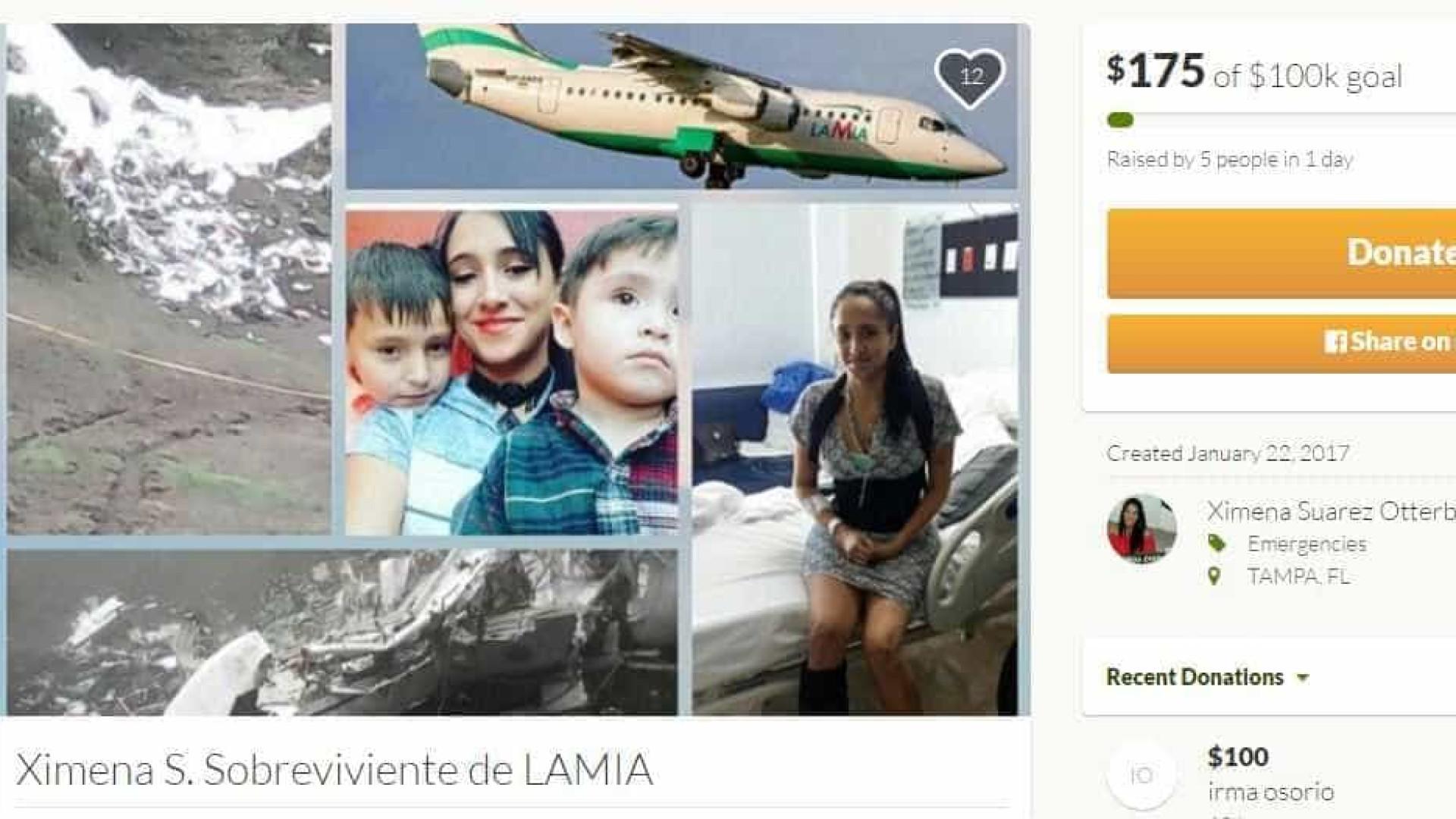 Comissária da LaMia pede ajuda de US$ 100 mil na internet
