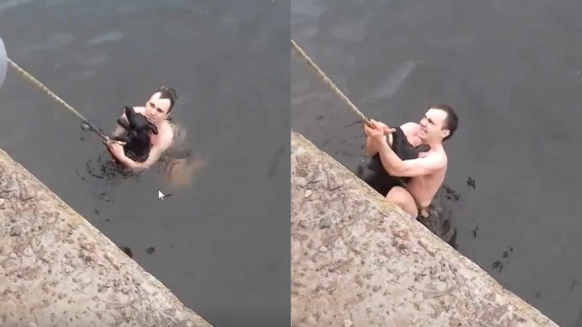 Nem todo herói usa capa: jovem salva cão de lago gelado