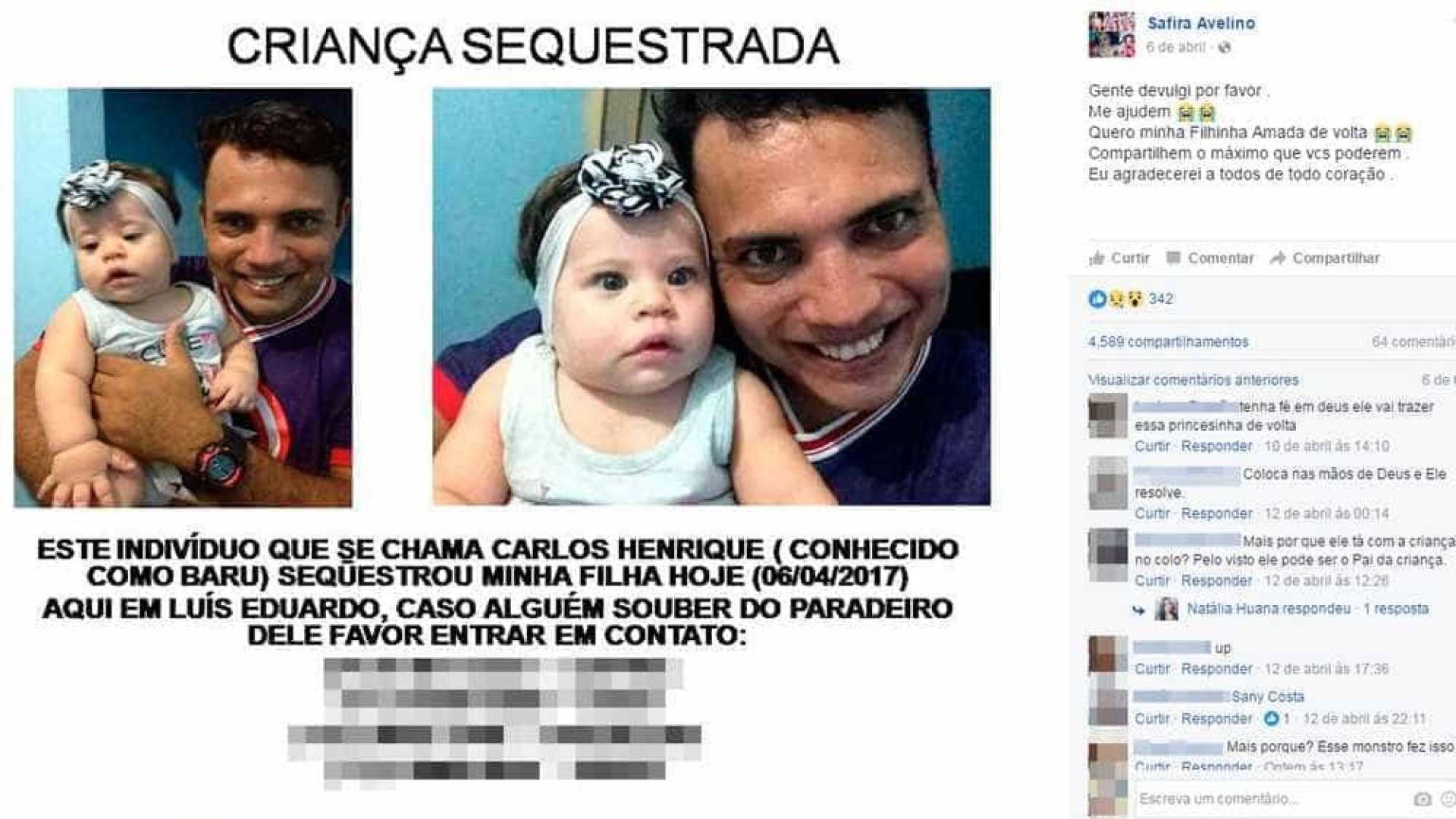 Bebê de 9 meses desaparece e  pai é suspeito do sequestro