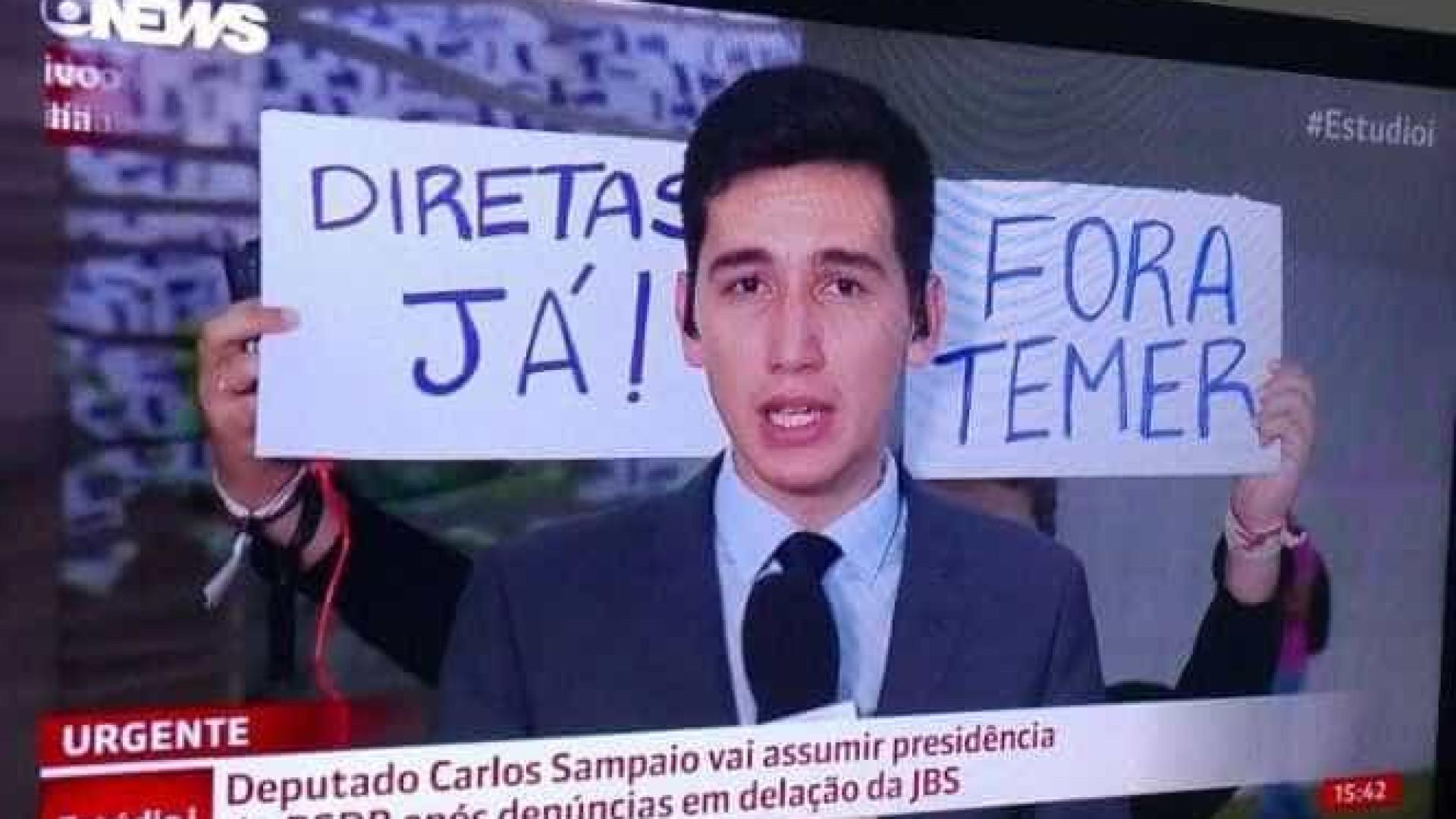 'Fora Temer' e 'Diretas já' invadem transmissão ao vivo da Globonews