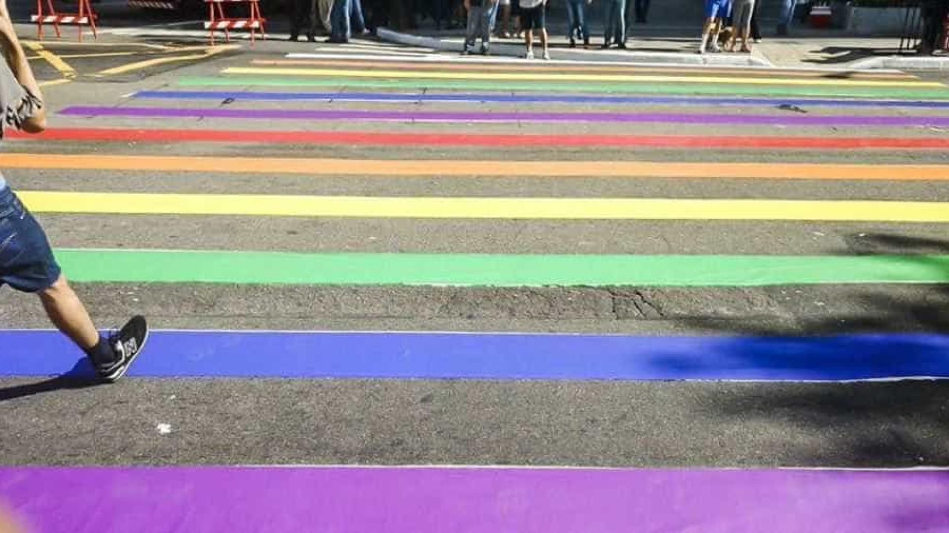 21ª Parada LGBT: faixas de pedestre são pintadas com cores do arco-íris