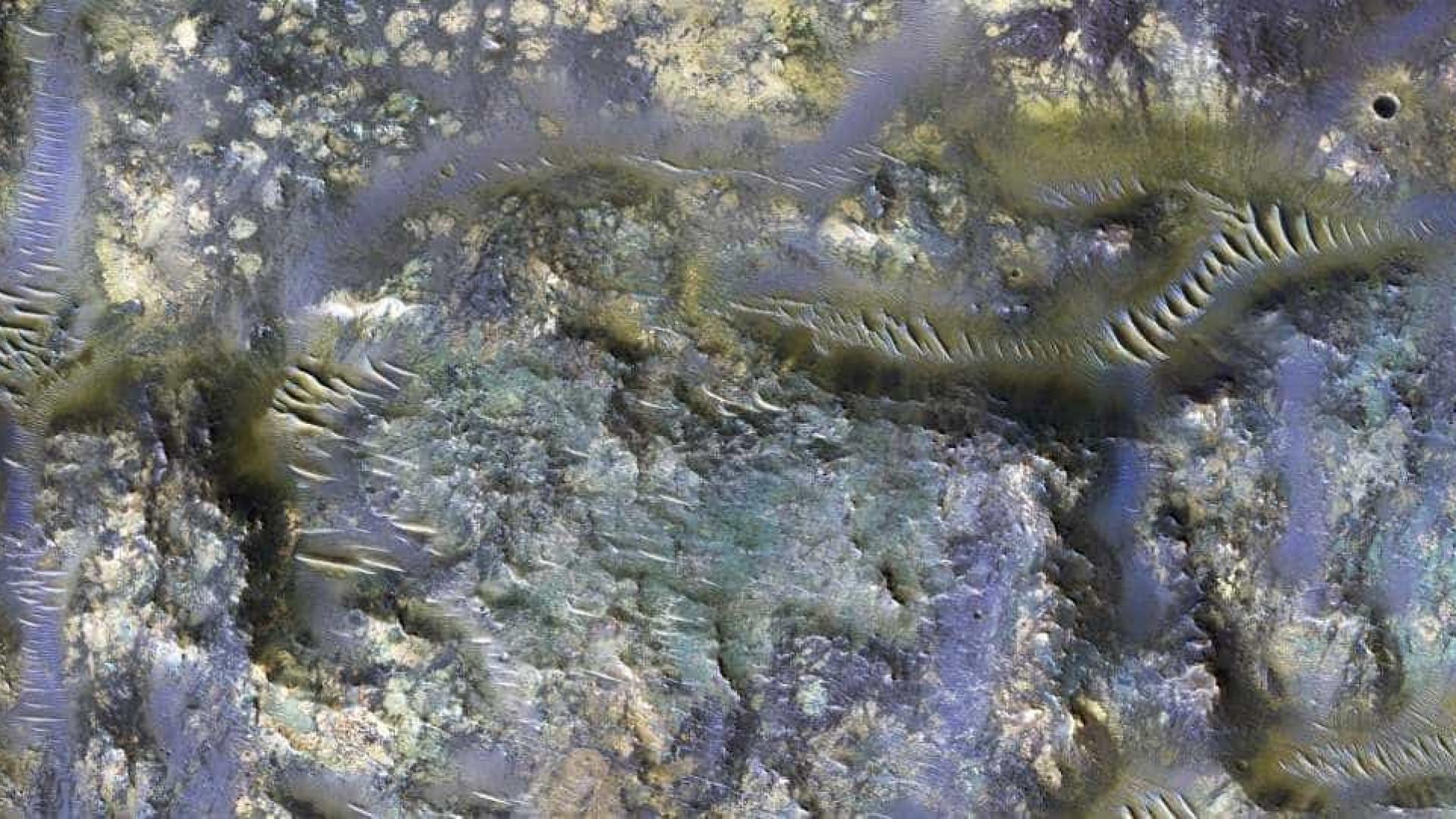 NASA capta 'larvas' em uma cratera de Marte