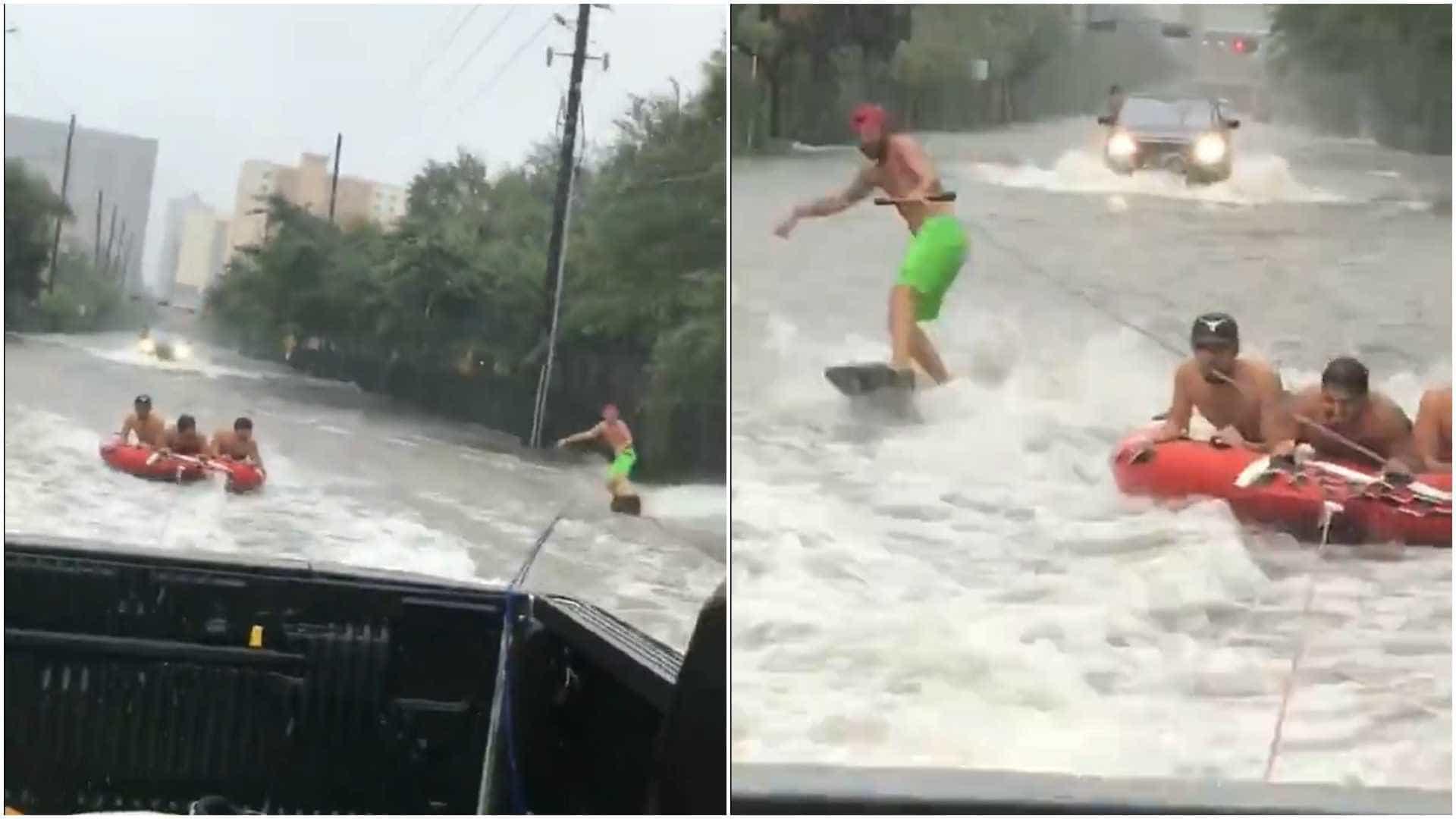 Jovens fazem wakeboard durante furacão Harvey