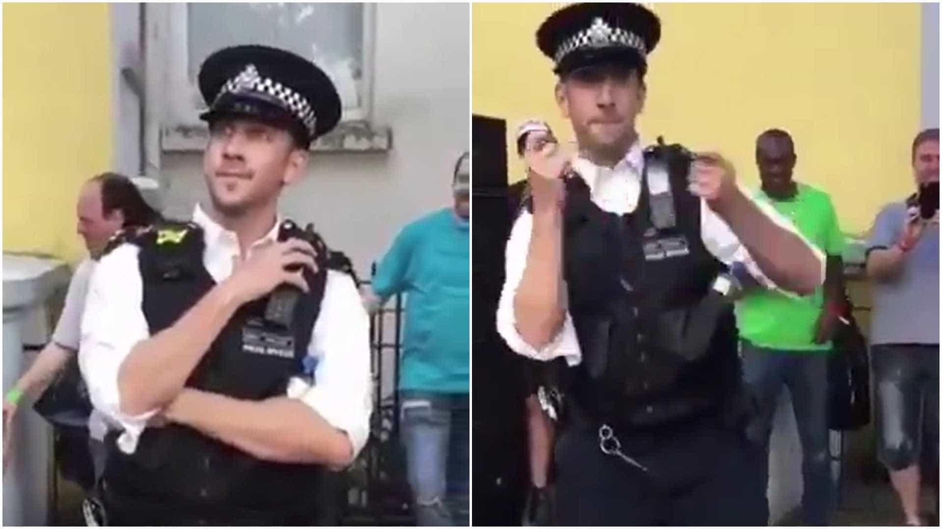 Policial dança junto com multidão no Carnaval da Inglaterra