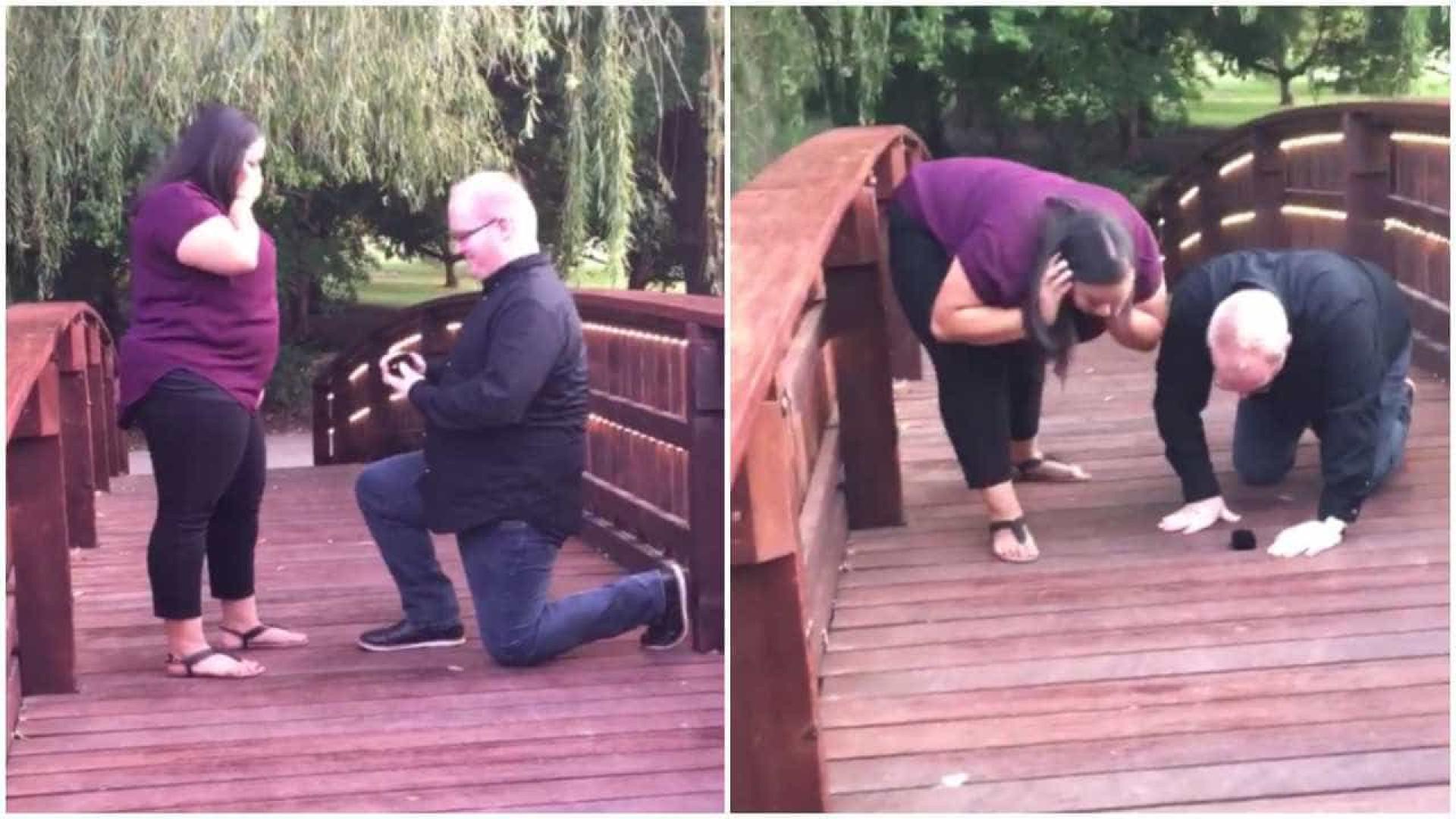 Pedido de casamento em cima de ponte acaba saindo fora do planejado