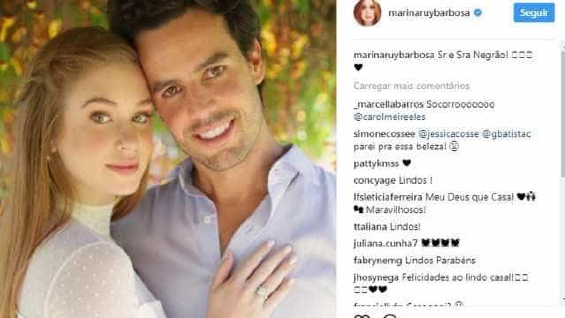 Marina Ruy Barbosa anuncia casamento no civil pelo Instagram