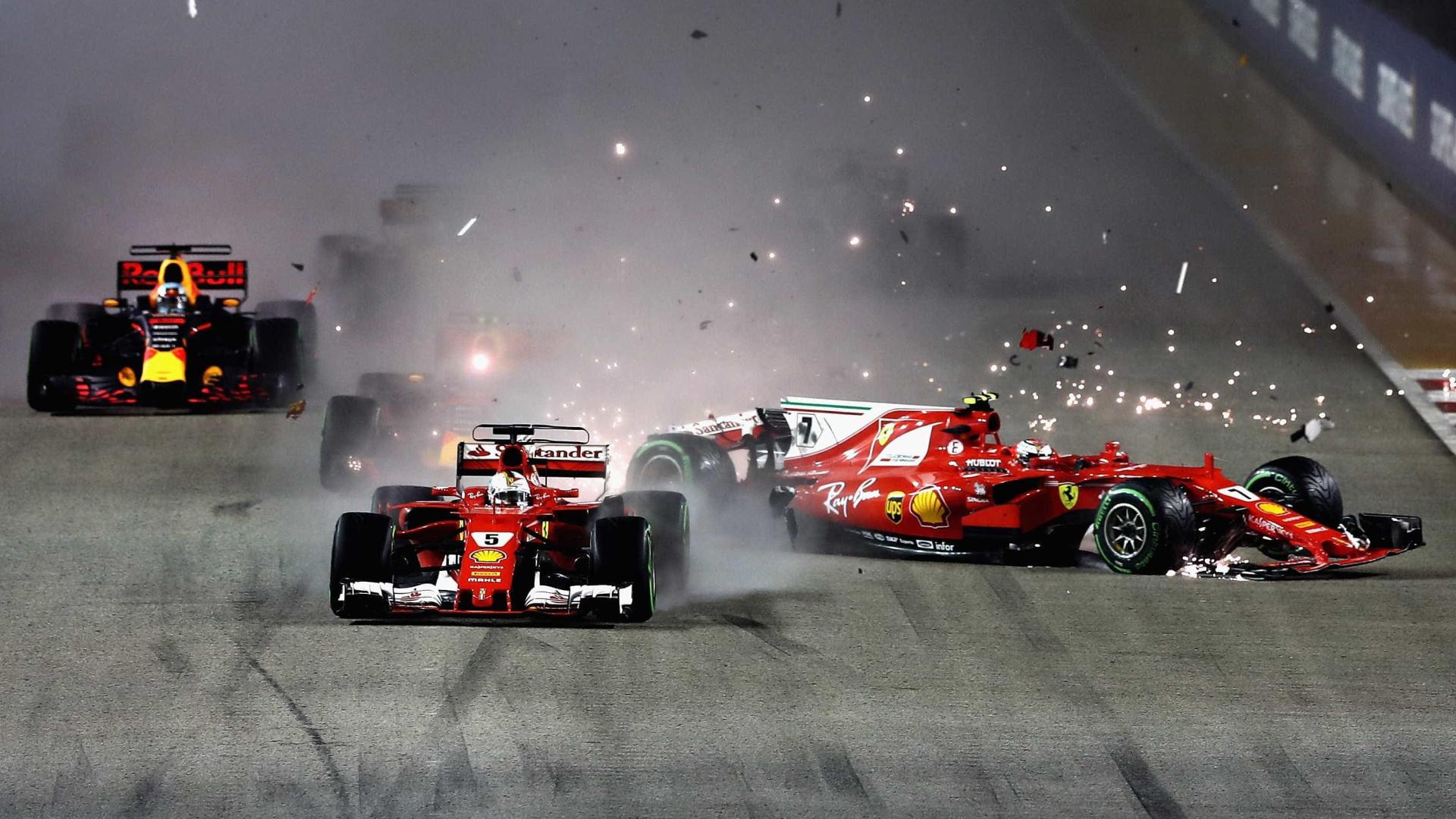 Largada caótica tira Vettel e Verstappen do GP de Cingapura na 1ª volta