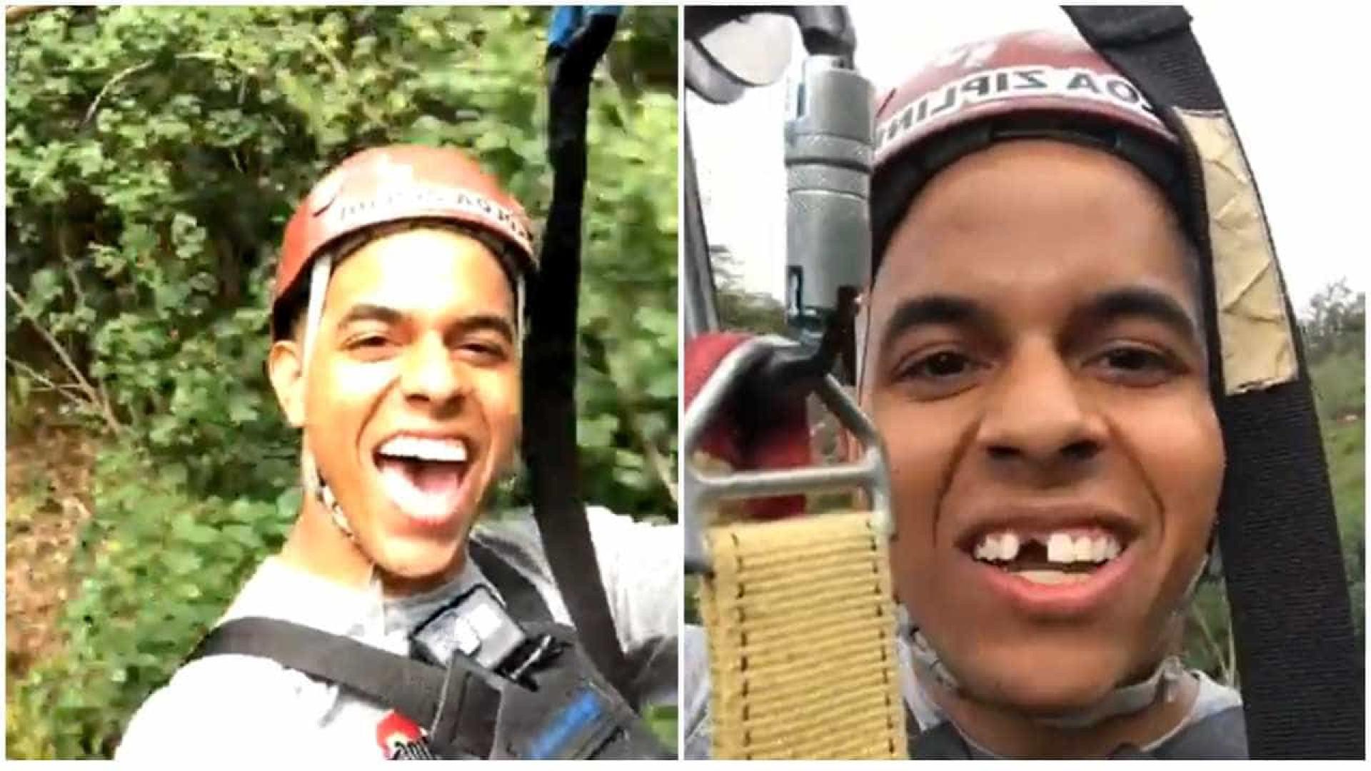 Jovem perde prótese dentária em tirolesa no Havaí