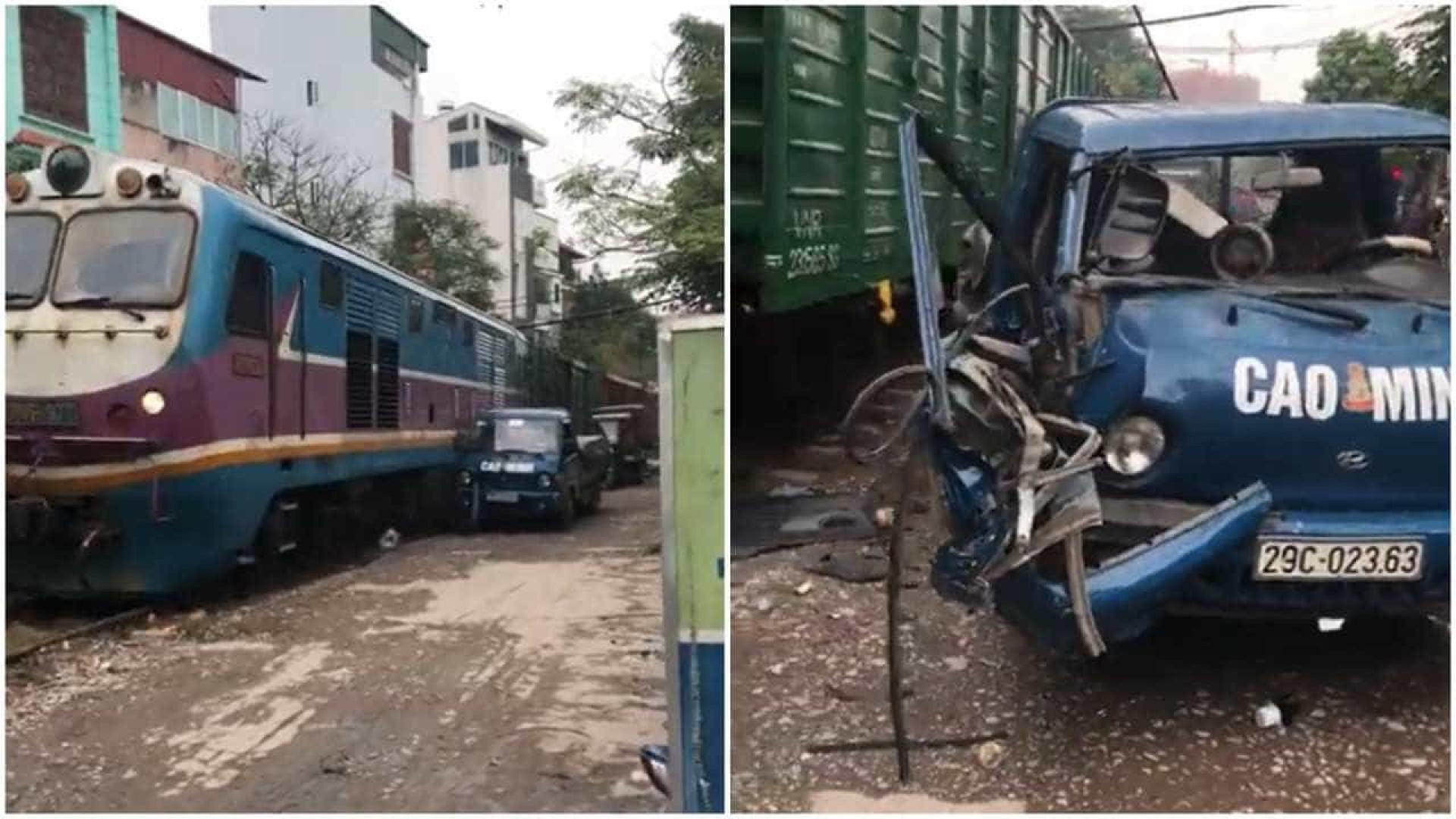 Automóvel é destruída por trem em movimento no Vietnã