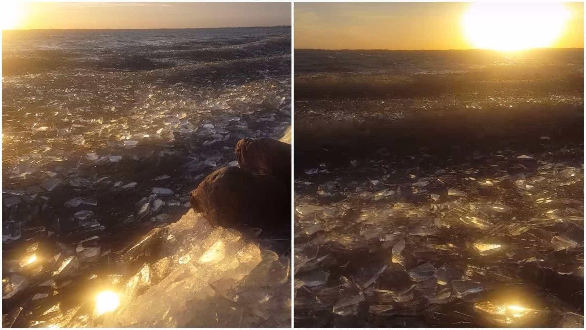 Espetáculo da natureza! Ondas de gelo se formam em lago nos EUA