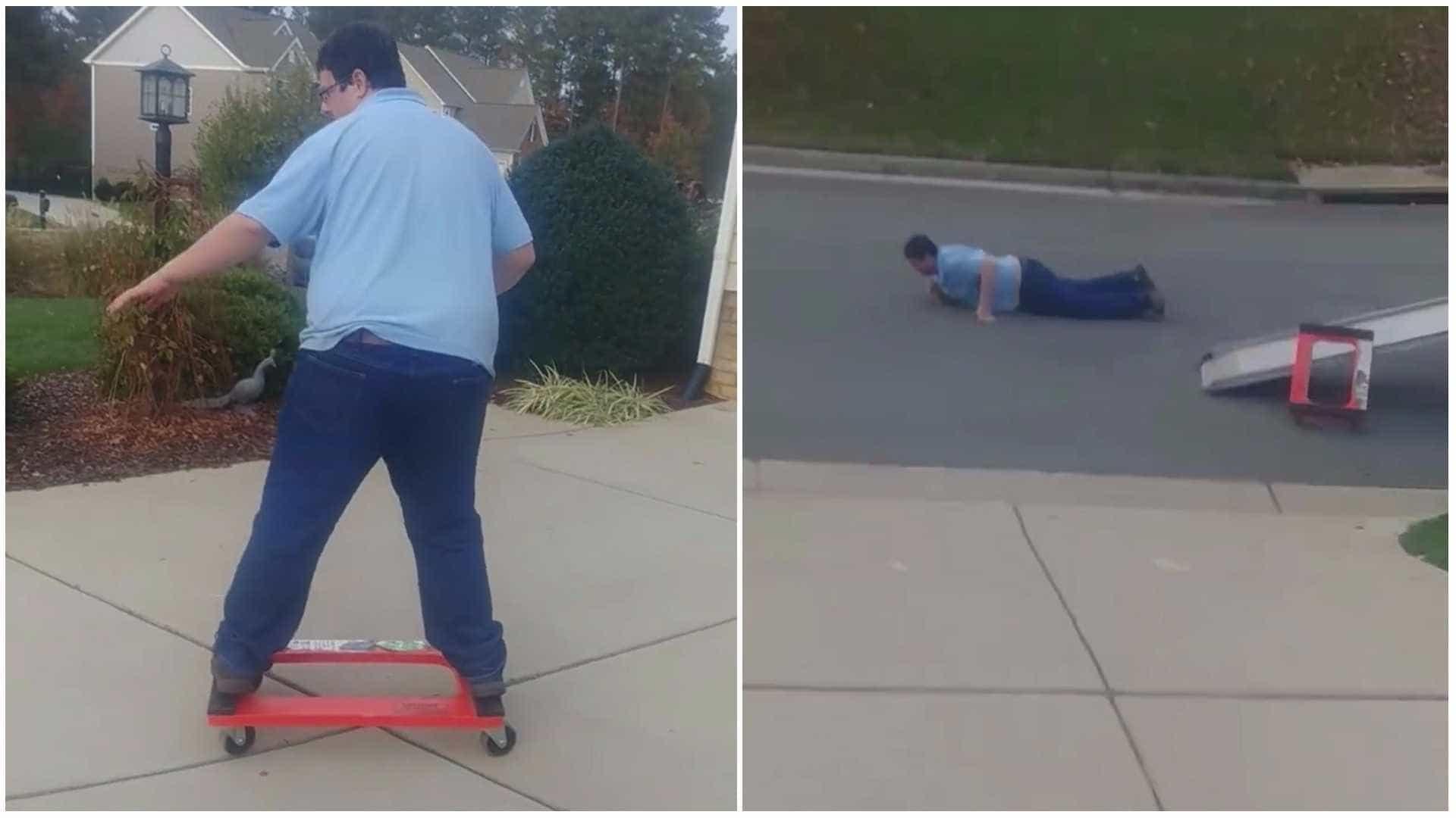 Homem improvisa skate e acaba sofrendo queda épica