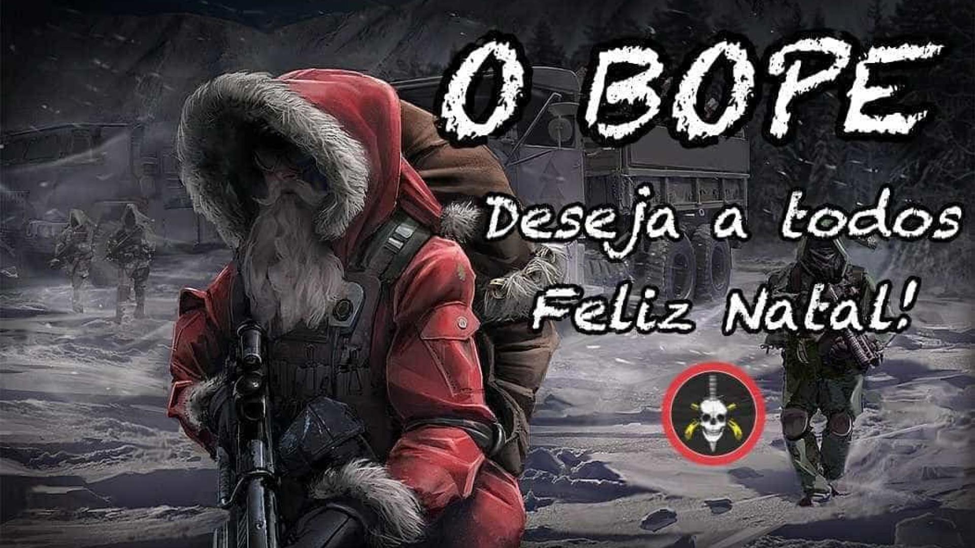 Bope deseja 'Feliz Natal' a seguidores com foto de Papai Noel armado