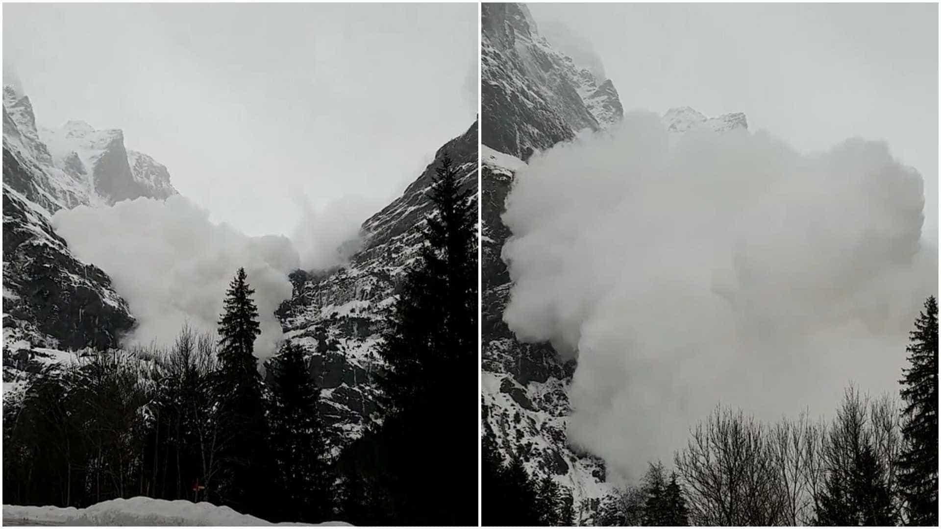 Avalanche assustadora registrada de perto na Suíça