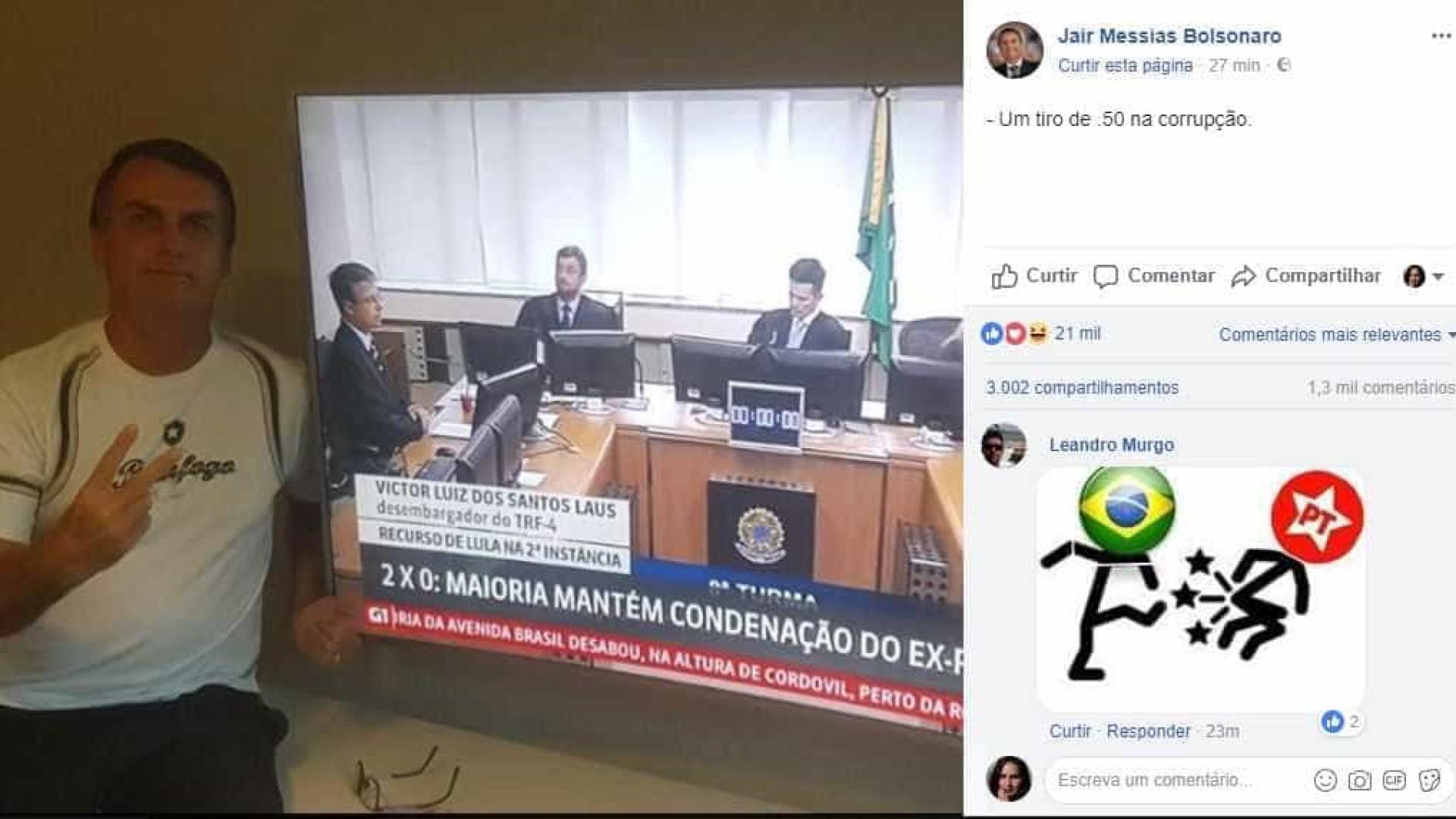 Bolsonaro comemora condenação de Lula: 'Um tiro .50 na corrupção'