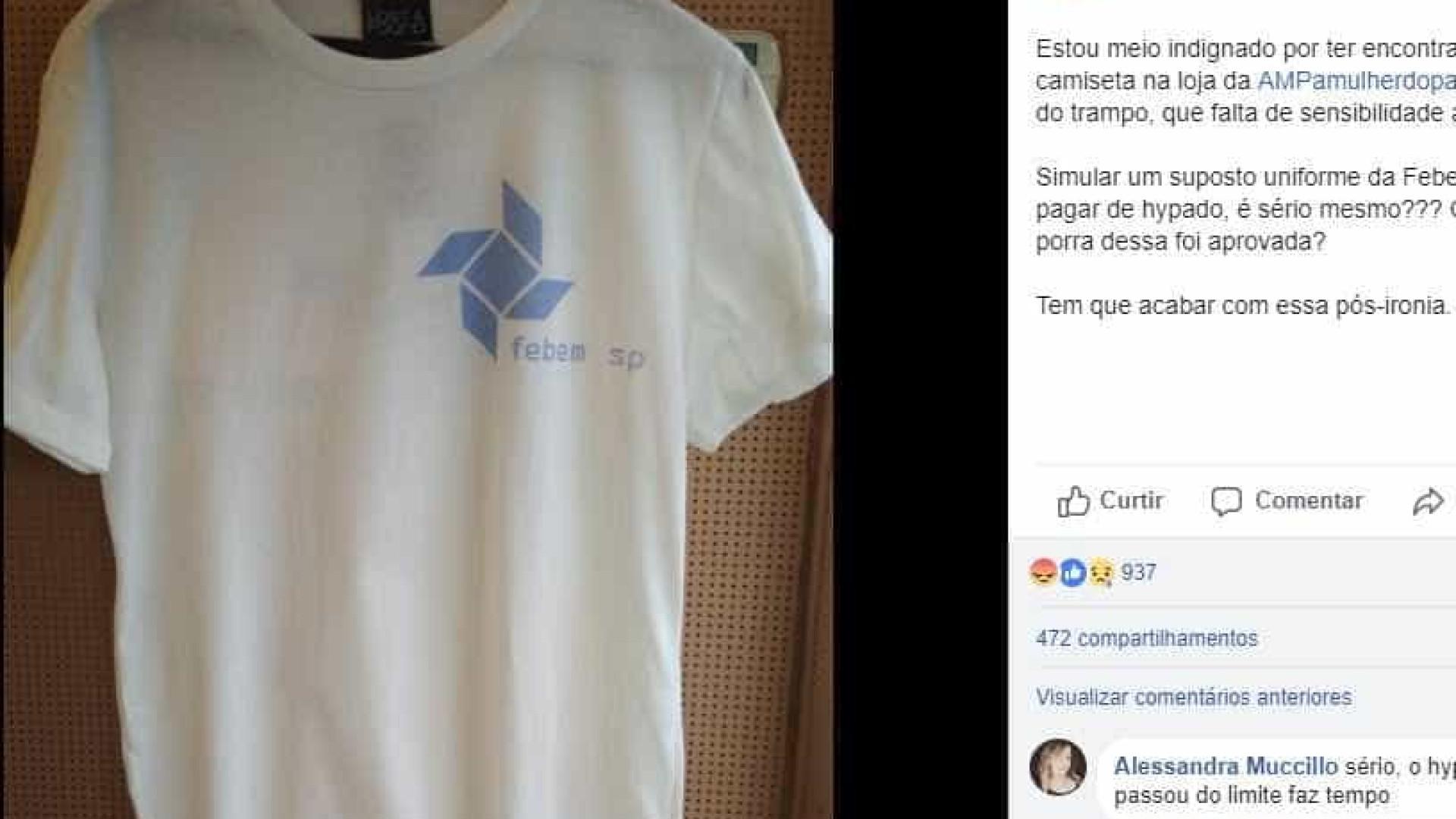 Loja retira camiseta com estampa da antiga Febem após polêmicas