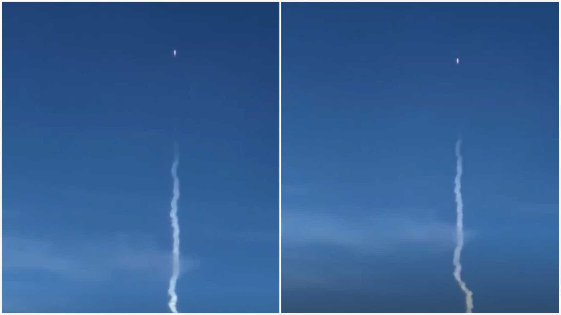 Passageiros de vôo filmam lançamento do foguete Falcon Heavy