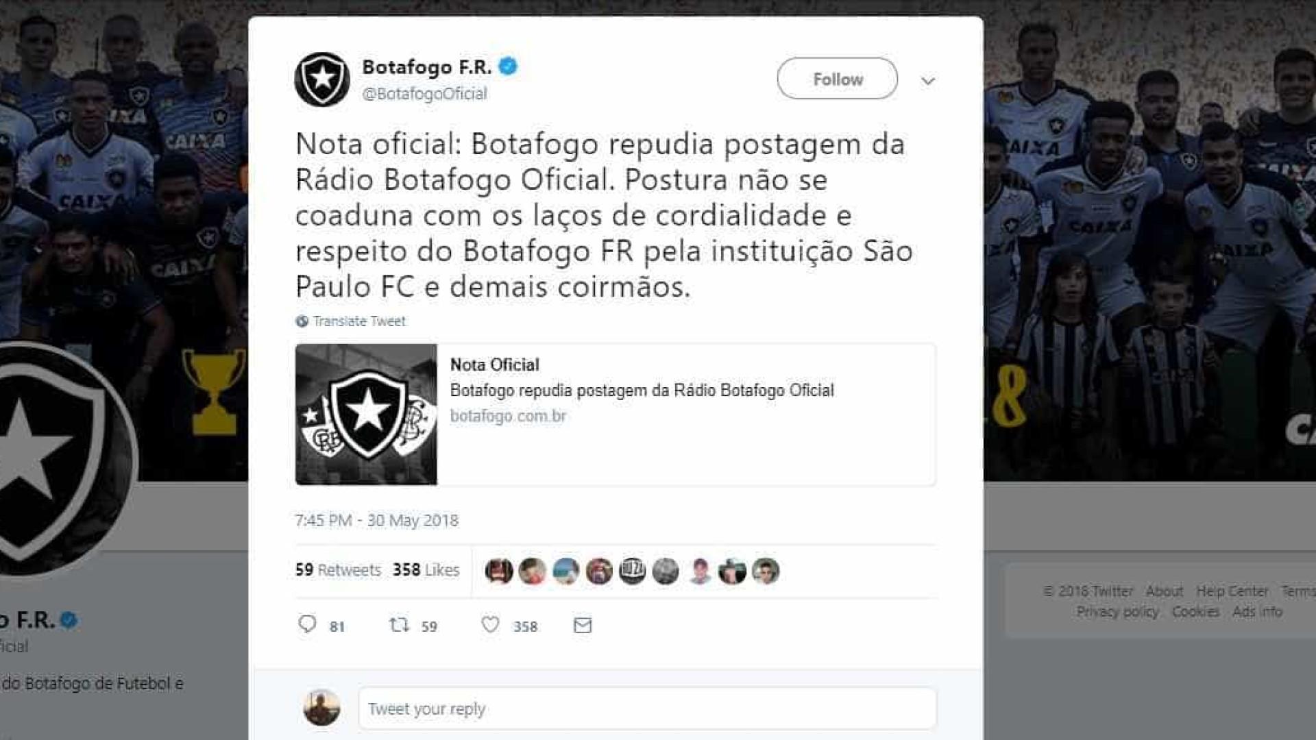 Botafogo pede desculpas após rádio oficial chamar São Paulo de 'bambi'