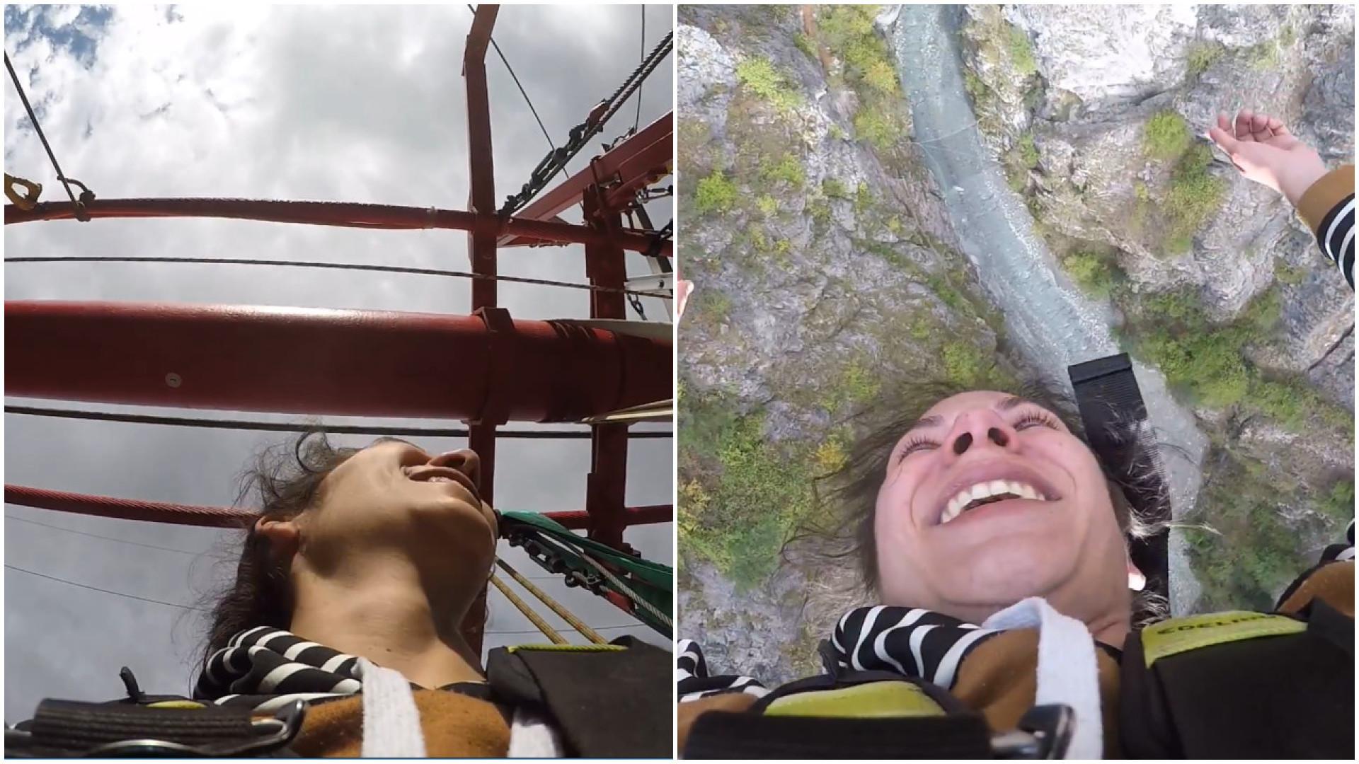 Jovem salta de bungee jumping pela primeira vez e registra momento