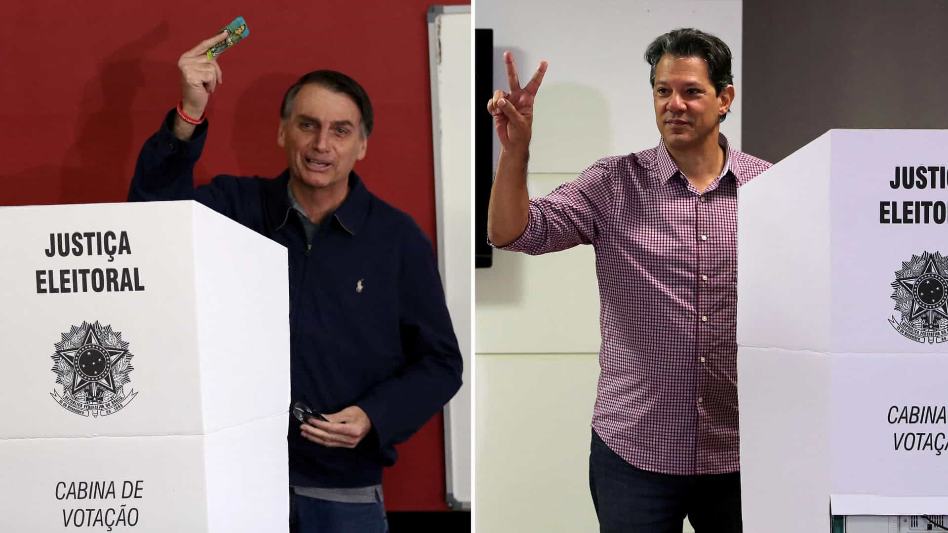 Datafolha mostra Bolsonaro com 55% e Haddad com 45%