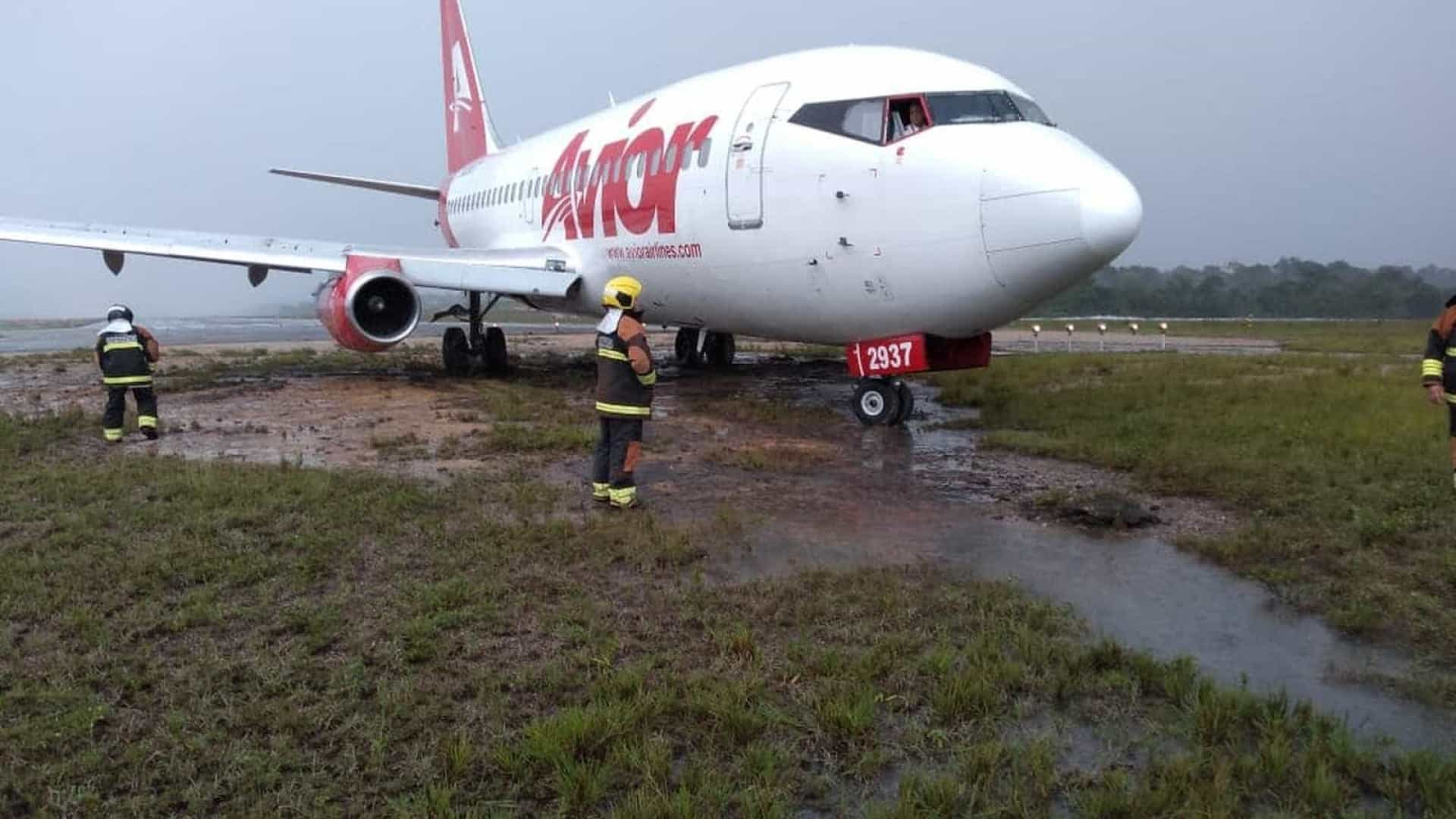 Em meio a chuva forte, Avião derrapa em pista do Aeroporto de Manaus