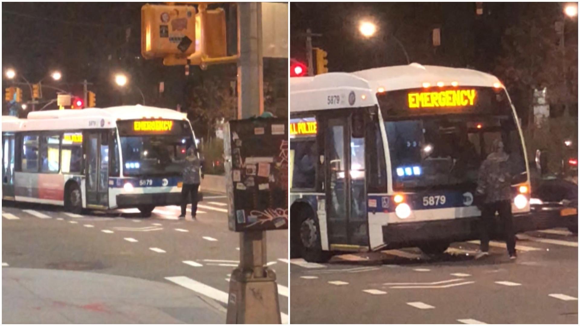 Passageiro tenta destruir ônibus nas ruas de Nova York