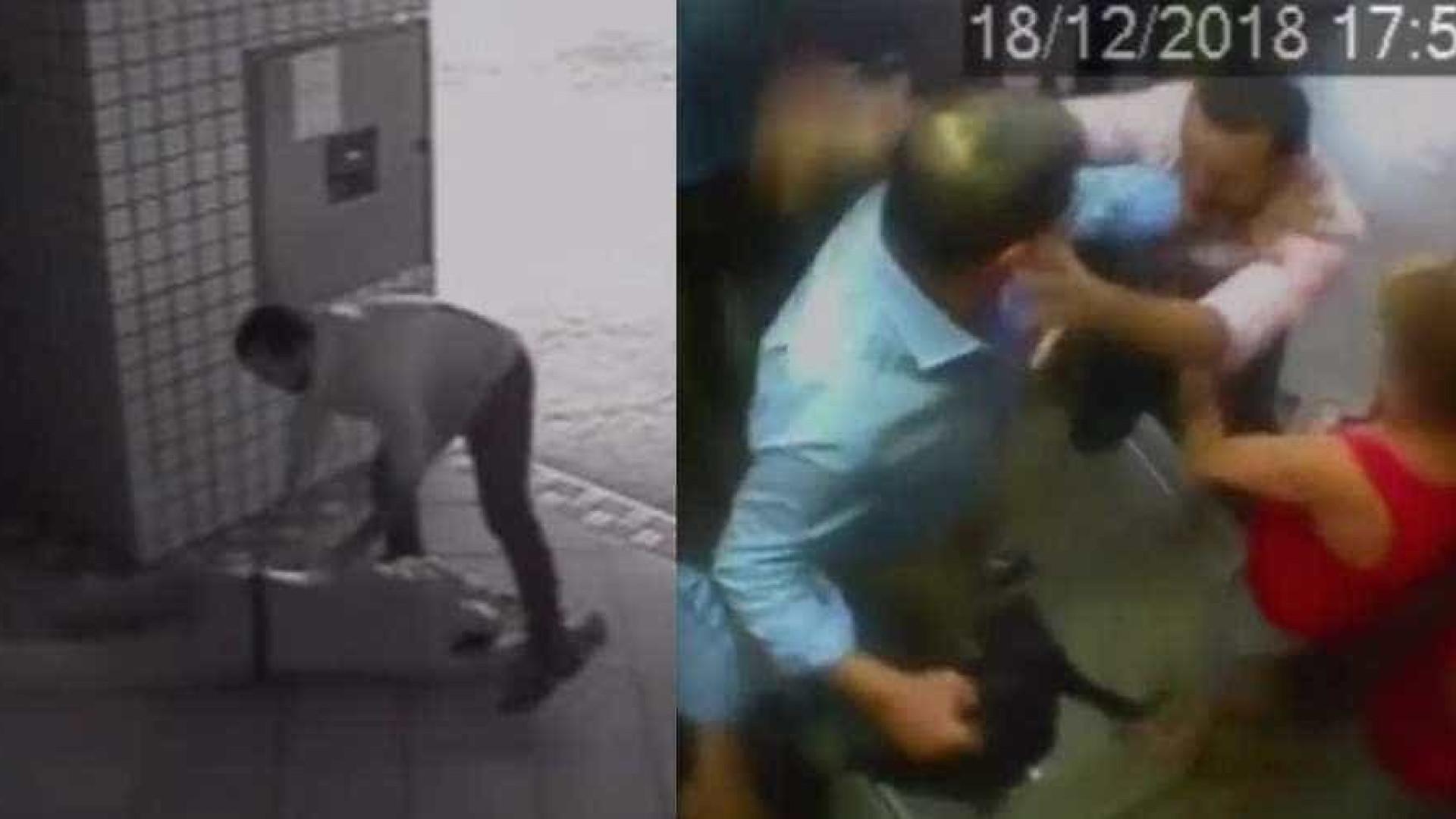 Vídeo mostra repórter Rodrigo Maia agredindo idoso em elevador