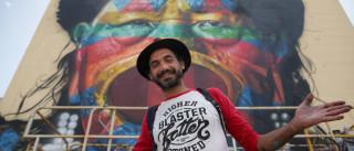 Kobra pinta Cacique Raoni em prédio de Lisboa