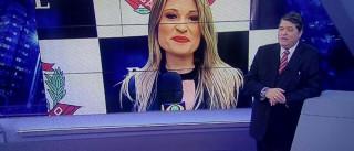 Datena flerta com repórter ao vivo: 'Minha mulher tem ciúme de você'