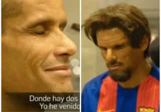 Disfarçado, Rivaldo dá show em pelada com torcedores do Barça; veja