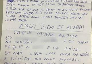 'Pague minha fatura', pede homem que matou ex-mulher e se matou