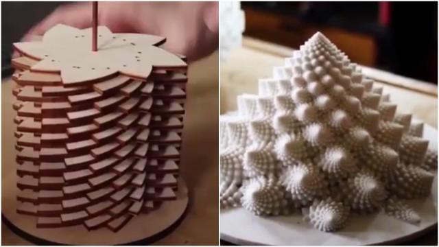 Artista cria objetos espirais que dão um efeito surreal às suas obras