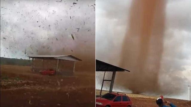 Redemoinho apavora moradores em fazenda no MT; vídeo
