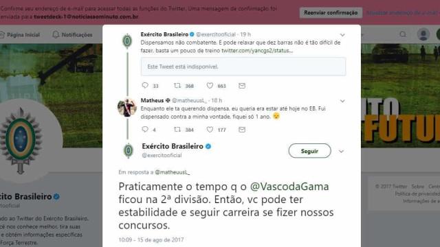 Twitter do Exército faz piada com Vasco e revolta torcedores