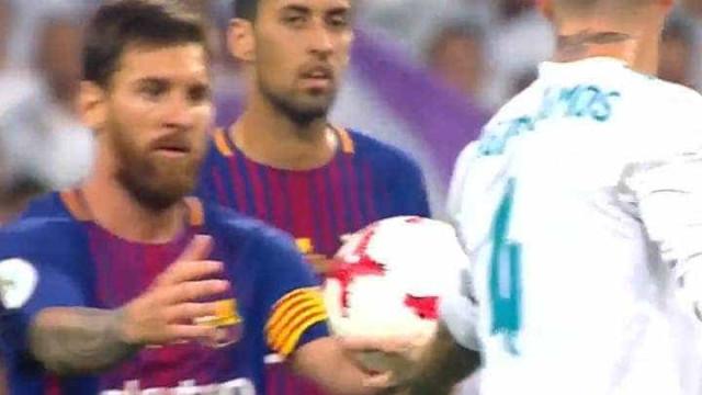 Messi se irrita com Sergio Ramos e não disfarça; assista