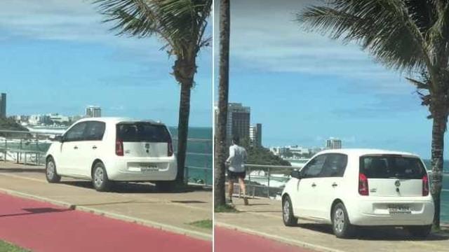 Idosa se confunde e dirige na calçada da orla de Salvador; assista