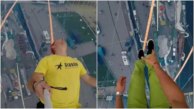 A visão de um praticante de slackline a 25 metros de altura