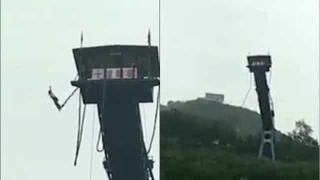 Menina cai de 50m após corda de bungee jump se romper