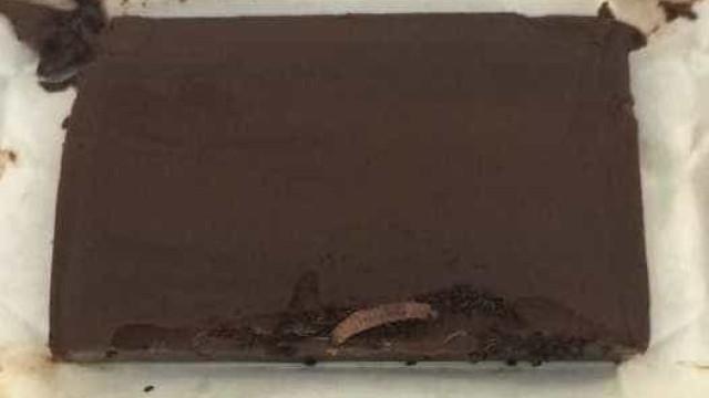 Mulher acha larvas dentro de barra de chocolate; assista