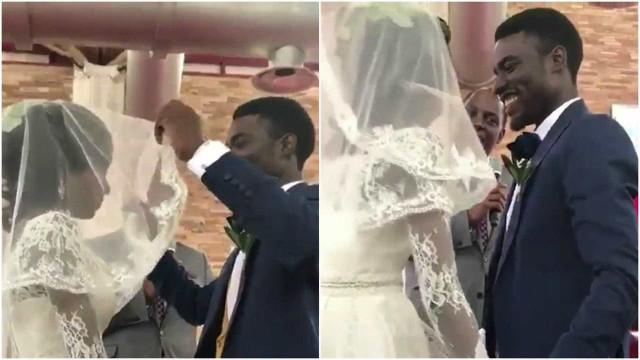 Noivo tem a melhor reação ao retirar o véu da noiva