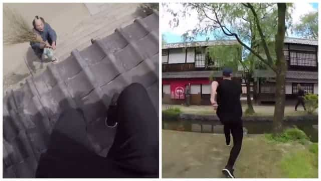 Praticante de parkour é perseguido por ninjas no Japão
