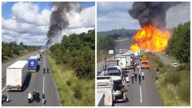 Caminhão com botijões de gás pega fogo e explode na França