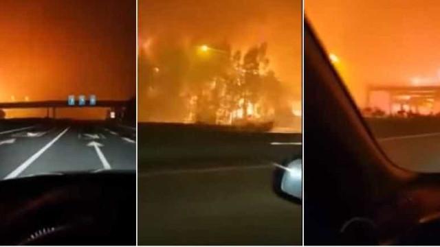 Vídeo mostra motorista fugindo de incêndio em estrada em Portugal